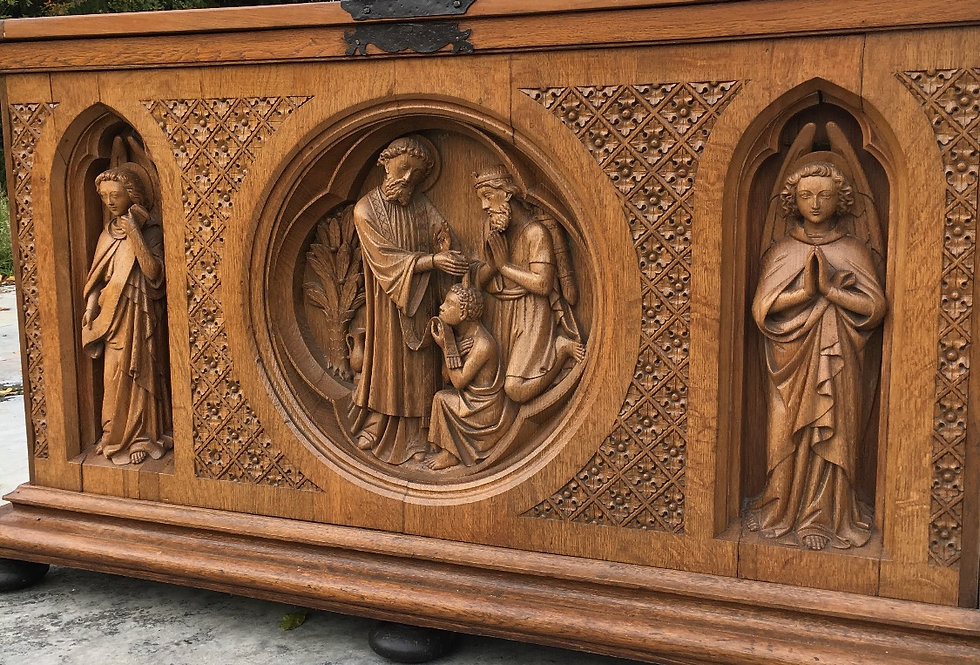 Exceptional Neo Gothic Church Panel/ Trunk with Angels in oak circa 1880