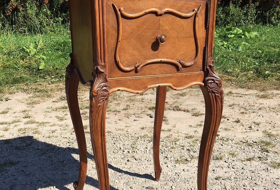 French Nightstand in Walnut with marble top