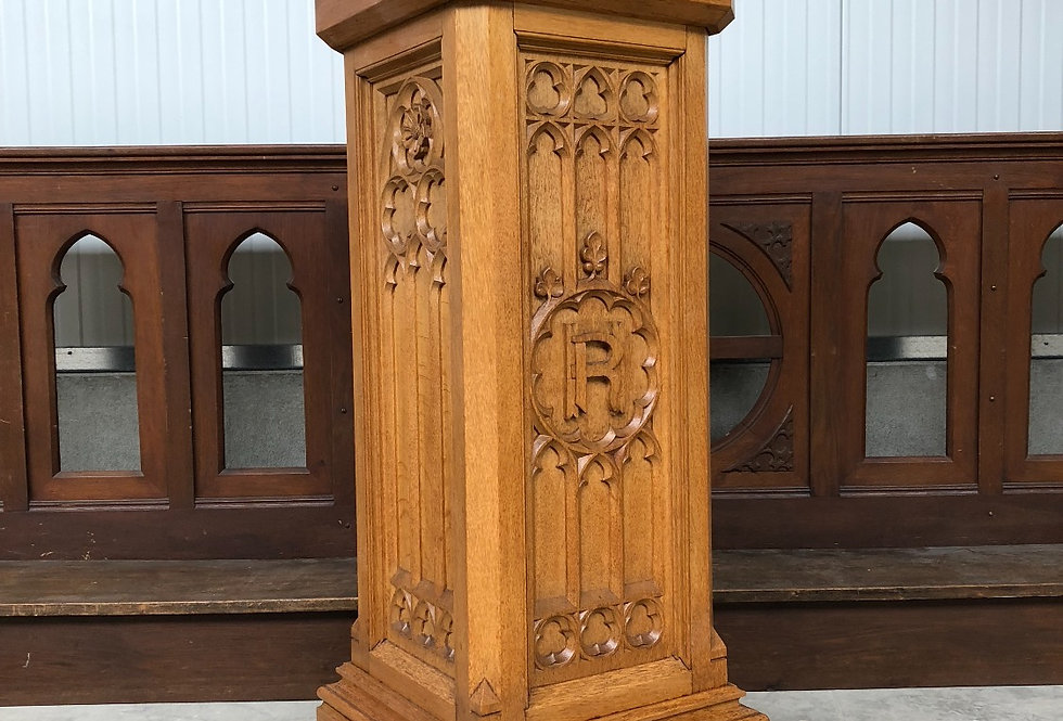 Impressive Gothic Church Pedestal / Stand in oak circa 1900