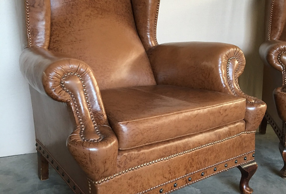 Pair of Leather Wing Back Club Sofas/Chairs