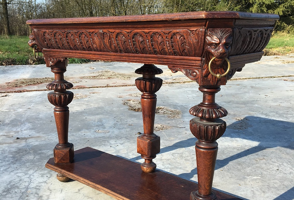 Neo Renaissance Console table /Side Table in oak