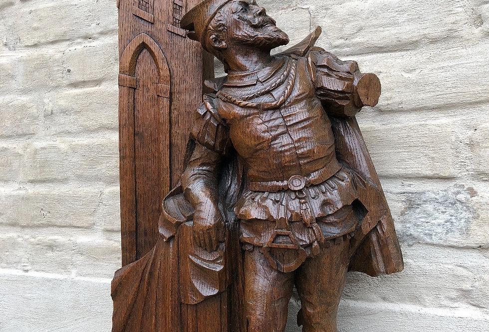Beautiful Antique Mephisto / Jester Statue in oak