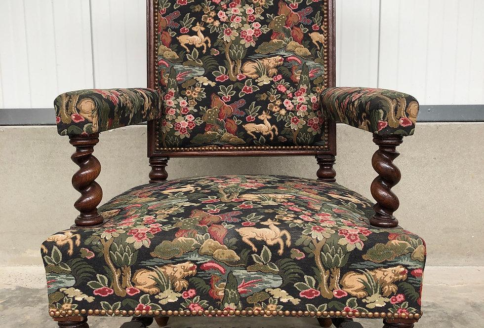 Antique Tapestry Armchair in oak