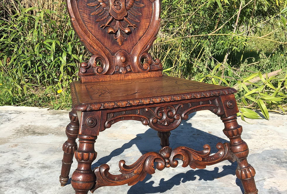 Antique German Scabello Style Chair with Heraldic Shield