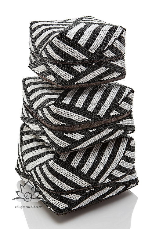 Beaded Boxes, Butterfly Striped- Black/White
