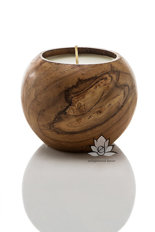Teakwood Bowl Candle, Small