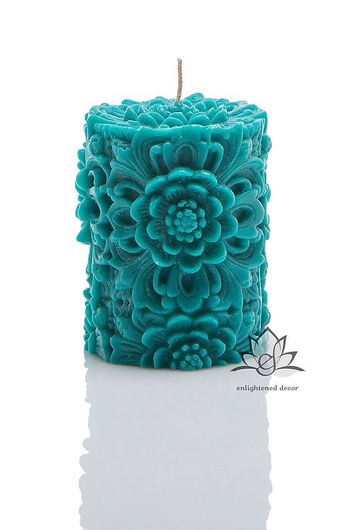 Dendritic Small Pillar Candle Turquoise