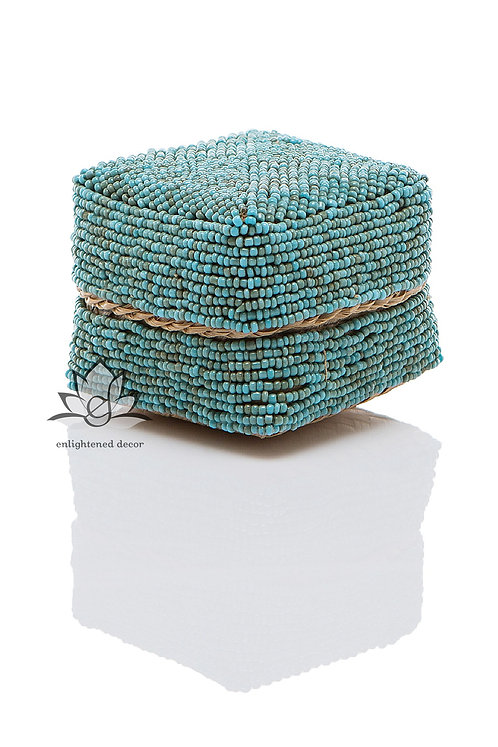 Beaded Boxes, 7cm- Teal