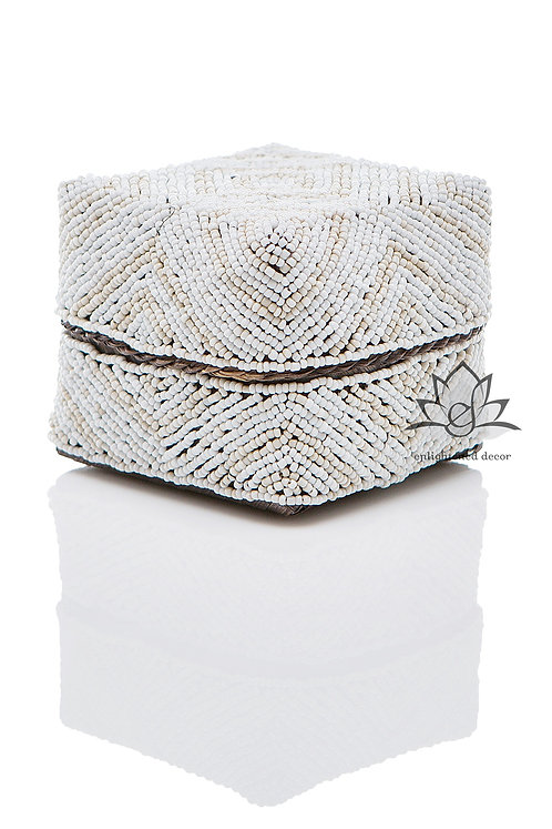 Beaded Boxes,10cm, Layered Diamond with Dots- Tan/White