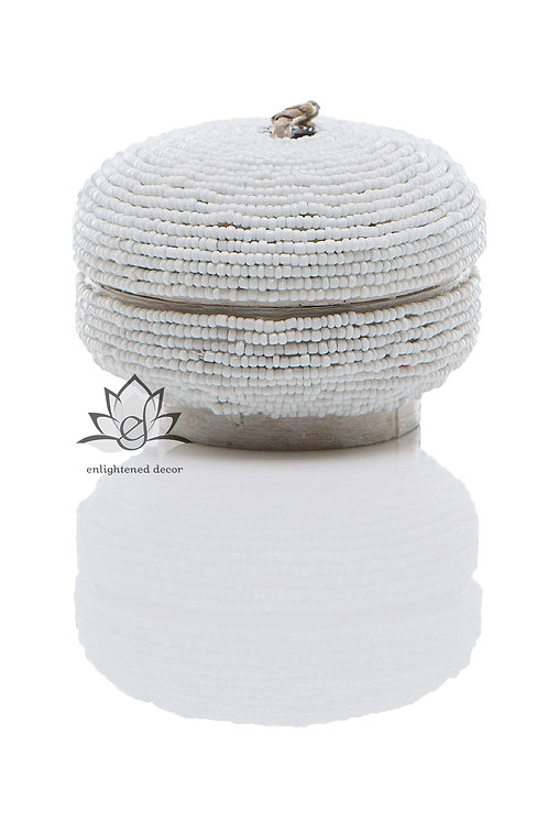 Beaded Boxes, Round 10cm- White