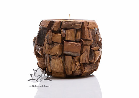 Ball Teakwood Candle, Large