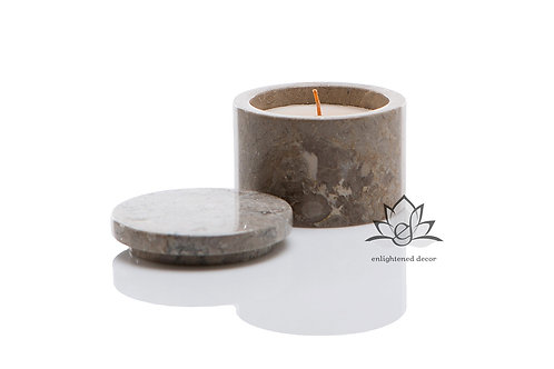 Light Grey Marble Candle, Small