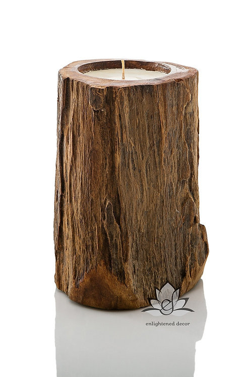 Medium Wood Pillar Candle