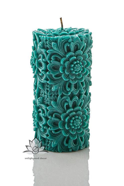 Dendritic Medium Pillar Candle Turquoise