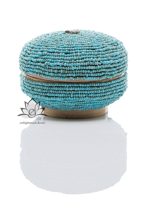 Beaded Boxes, Round 10cm- Teal
