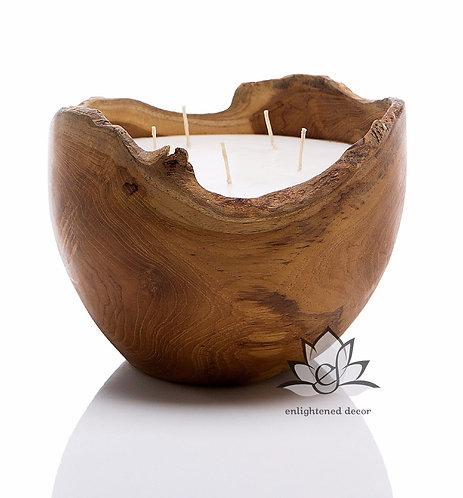 Teakwood Bowl Candle, Large