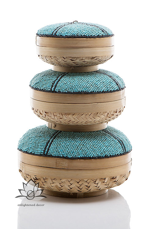 Beaded Boxes, Butterfly- Teal/Black