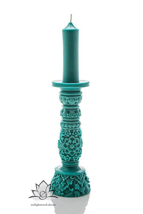 Extra Large Turquoise Pillar Candle