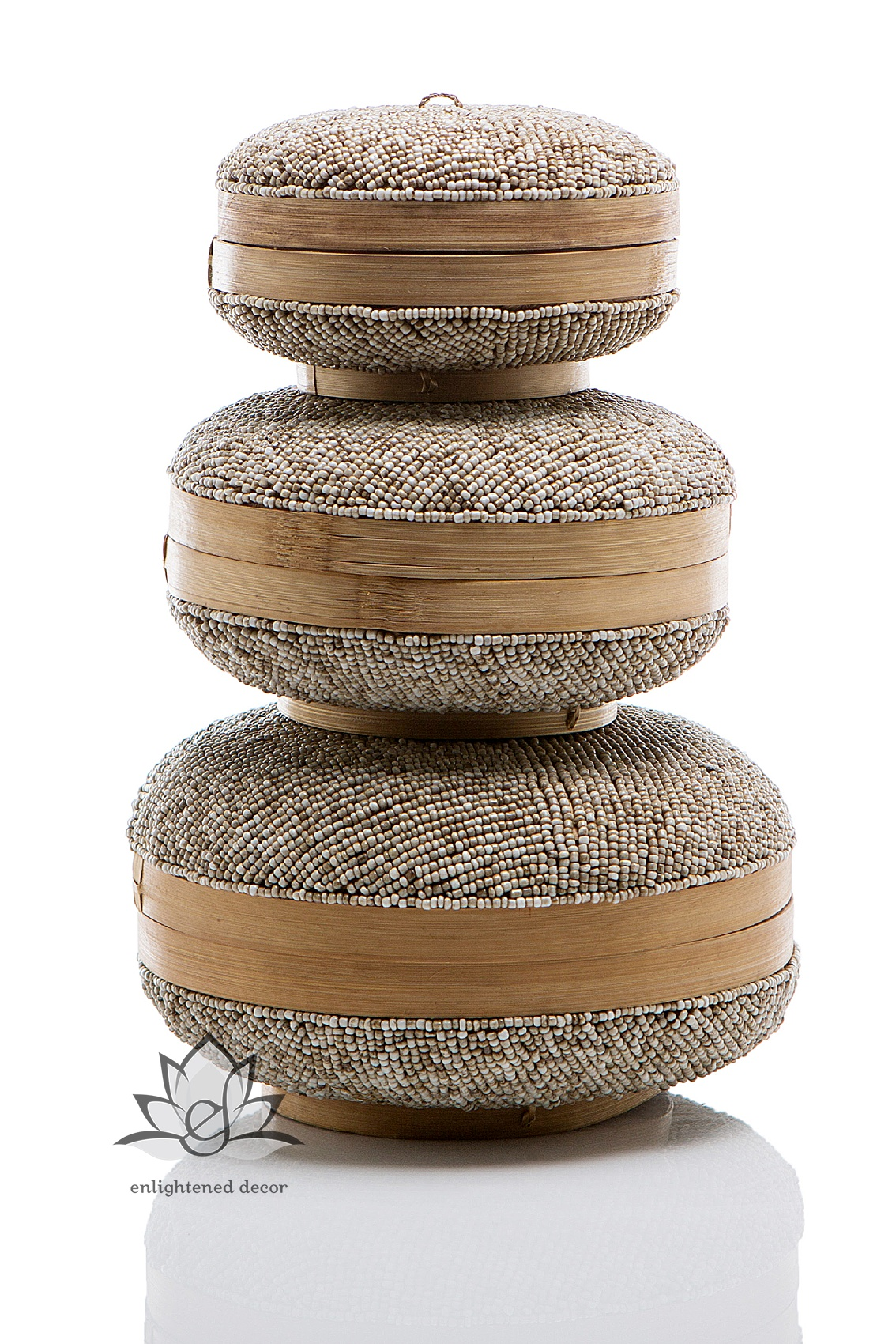 #49-3 Beaded Boxes, Round, Set of 3, Sol