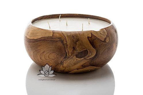 Smooth Teakwood Bowl Candle