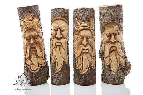 Spirit Wood Faces/Owl, Full Stump, 50cm L