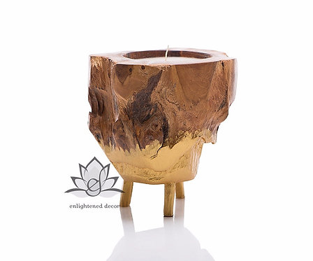 Three Leg Wood Stand In Gold Candle