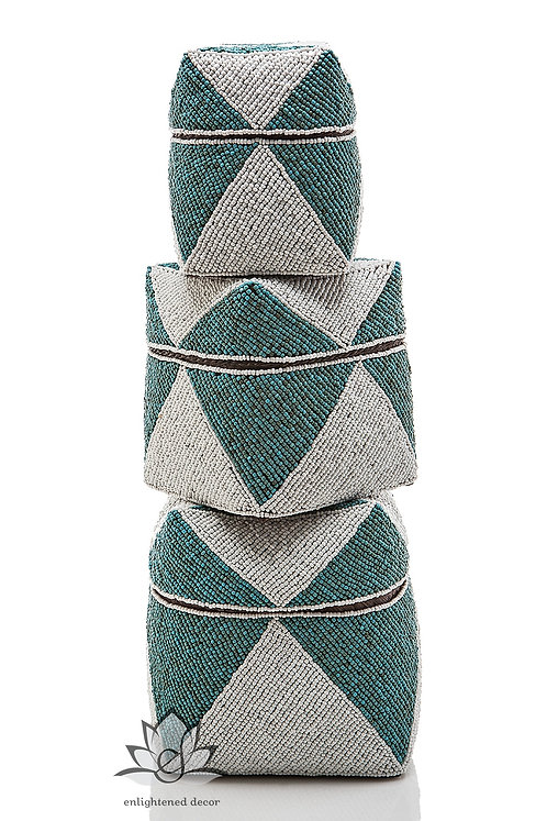 Beaded Boxes, Solid Diamond- Teal/White
