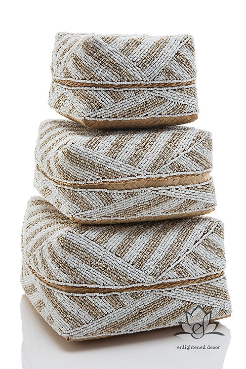Beaded Boxes, Butterfly Striped- Tan/White