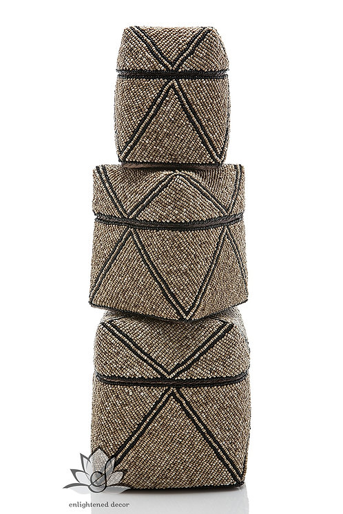 Beaded Boxes, Single Diamond- Tan/Black Stripe