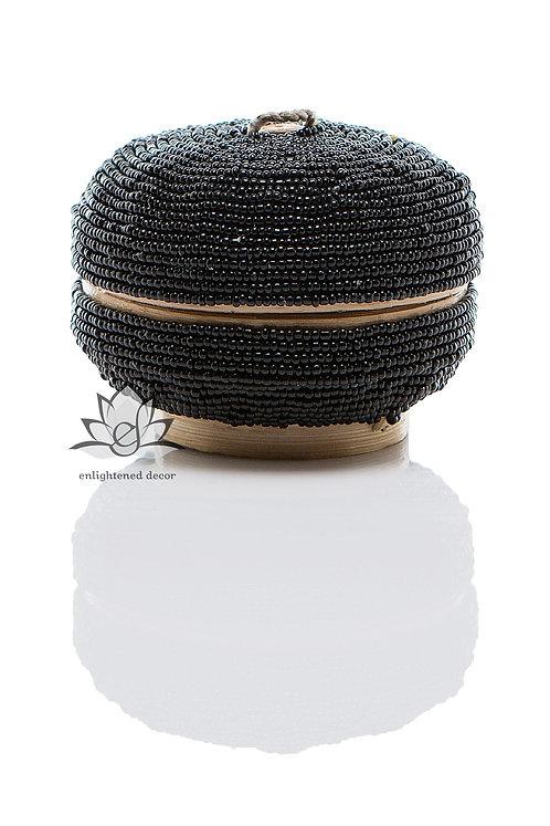 Beaded Boxes, Round 10cm- Black