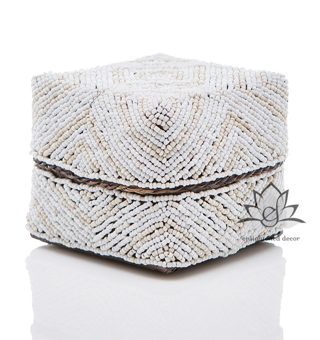 #60-2 Beaded Box, 10cm, Layered Diamond