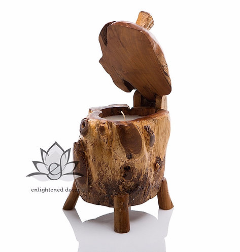 Teakwood Stand with Lid Candle, Small