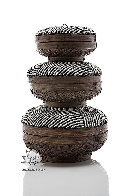 Beaded Boxes, Striped- Black/White