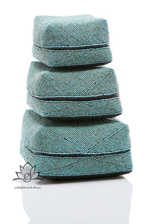 Beaded Boxes, Solid- Teal