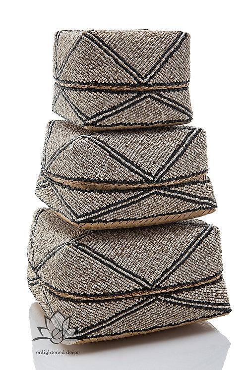 Beaded Boxes, Single Diamond- Tan/Black Stripe