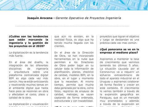 Entrevista a Joaquín Arocena Gerente Operativo  de Proyectos Ingeniería