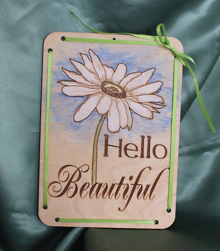 Hello Beautiful Wooden Greeting Card