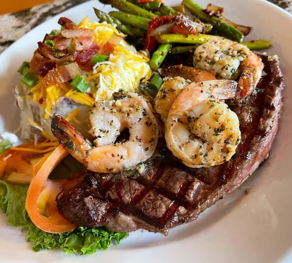 Ribeye Steak & Prawns