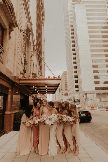 bridal party in the city