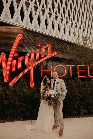 bride and groom at virgin hotel dallas