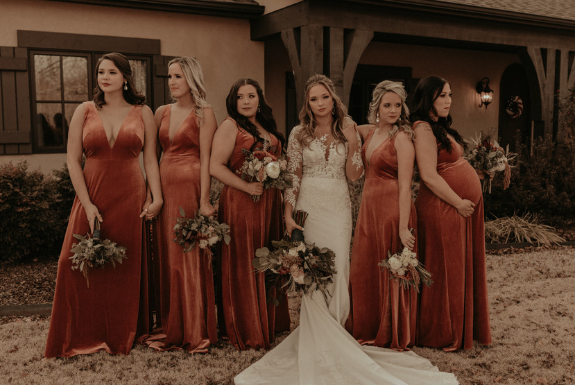 rust gold bridal party