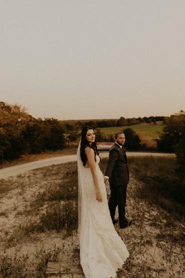 golden hour bride and groom