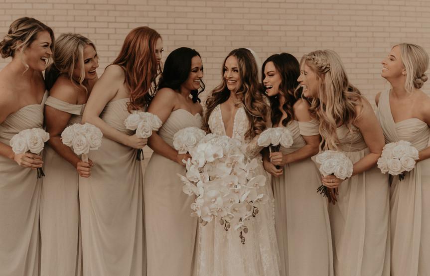creams and whites bridesmaids