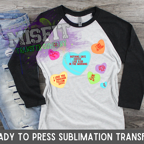 Candy Hearts - Gilmore Girls - Sublimation Transfer