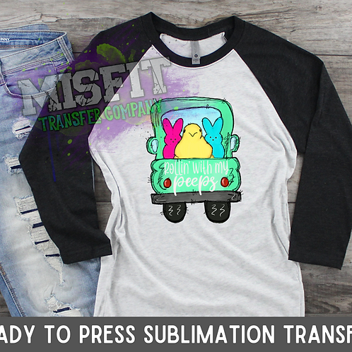 Rollin' With My Peeps - Easter - Doodle Truck - Sublimation Transfer