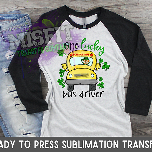 Lucky Driver - School Bus - Doodle Truck - Sublimation Transfer