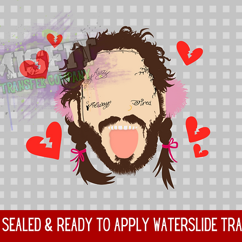 Post Malone Valentine's Day - Clear Waterslide