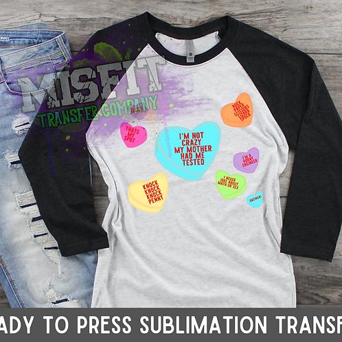 Candy Hearts - Big Bang Theory - Sublimation Transfer