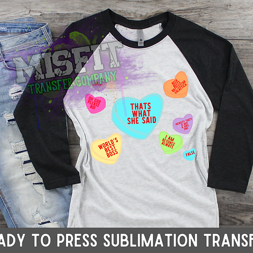 Candy Hearts - The Office - Sublimation Transfer