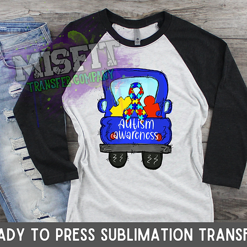Autism Awareness - Doodle Truck - Sublimation Transfer